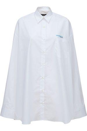 RAF SIMONS Naiset Farkkupaidat - Oversize Cotton Denim Long Shirt