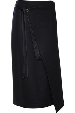 JIL SANDER Wool Jersey Wrap Midi Skirt
