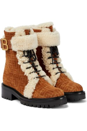 Balmain Ranger Romy shearling-trimmed suede combat boots