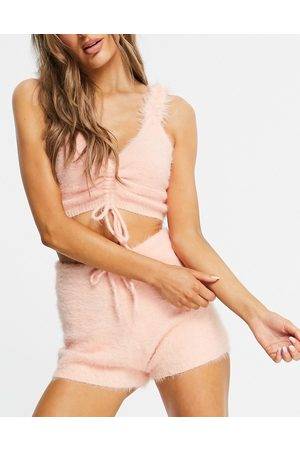 Lost Ink Naiset Hihattomat - Fluffy drawcord cami top and short set in peach-Pink