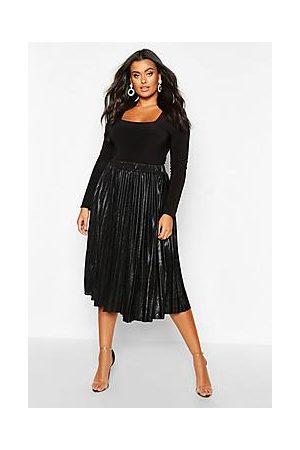 Boohoo Naiset Midihameet - Plus Metallic Pleated Midi Skirt