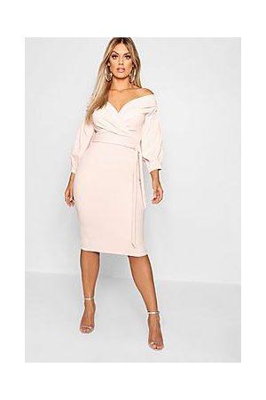 Boohoo Naiset Midimekot - Plus Recycled Off Shoulder Wrap Midi Dress