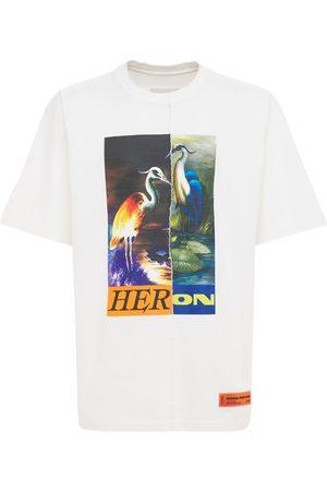 HERON PRESTON Miehet T-paidat - Split Herons Print Cotton Jersey T-shirt