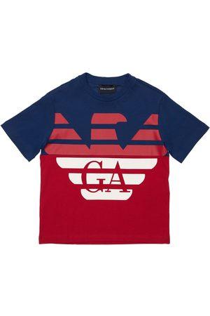 Emporio Armani Pojat T-paidat - Logo Print Cotton Jersey T-shirt