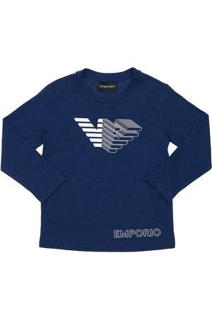 Emporio Armani Logo Print L/s Cotton Jersey T-shirt