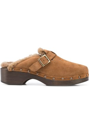RE/DONE Naiset Puukengät - 70s shearling-trimmed suede clogs