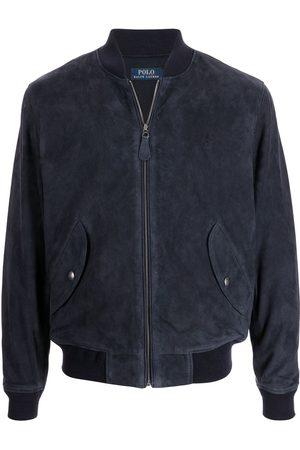 Polo Ralph Lauren Miehet Nahkatakit - Embroidered-logo suede bomber jacket