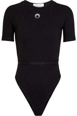 Marine Serre Ribbed-knit cotton bodysuit