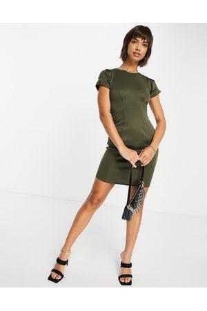 Closet Contour seam pencil dress in olive green
