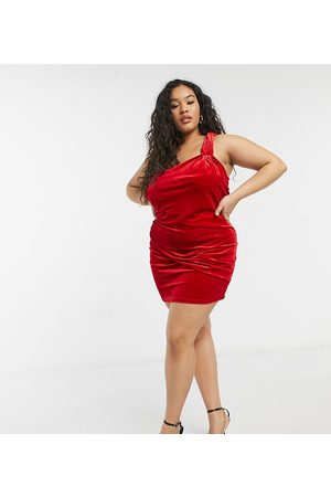 In The Style Exclusive velvet twist one shoulder ruched detail pencil dress in red