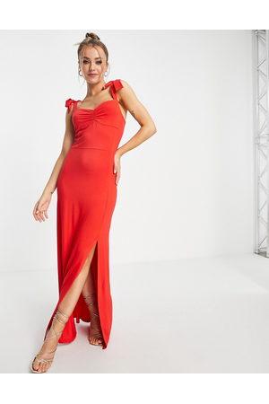 Lipsy London Tie strap spilt hem maxi dress in red