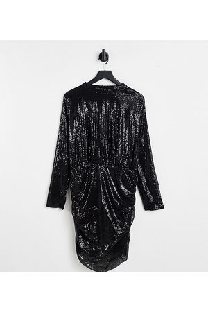 In The Style Exclusive sequin high neck 2 in 1 mini dress in black