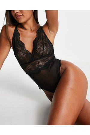 Hunkemöller Chiara plunge front lace bodysuit in black