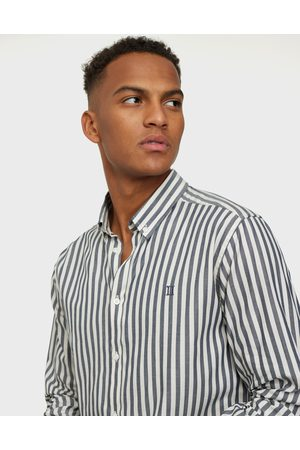 Les Deux Miehet Kauluspaidat - Christoph Stripe Poplin Shirt Kauluspaidat navy/white