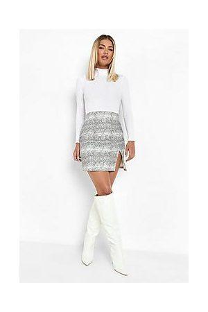 Boohoo Snake Print Split Hem Denim Mini Skirt