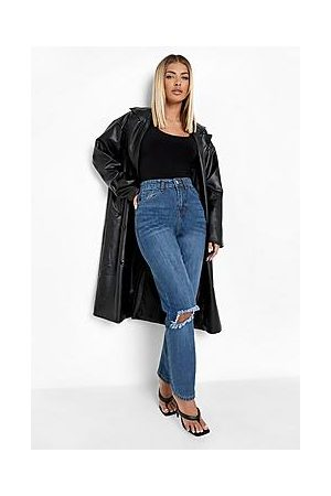 Boohoo High Rise Straight Leg Jeans With Busted Knee