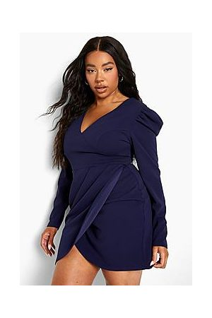 Boohoo Plus Puff Sleeve Wrap Dress