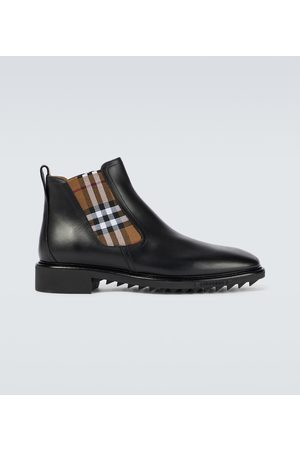 Burberry Miehet Nilkkurit - Checked Chelsea leather boots