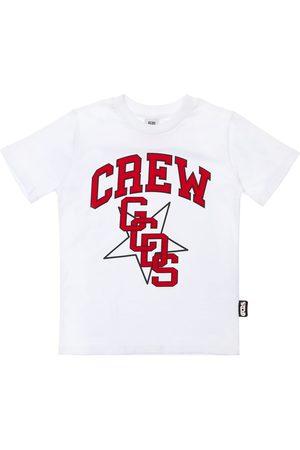 GCDS Pojat T-paidat - Flocked Logo Cotton Jersey T-shirt