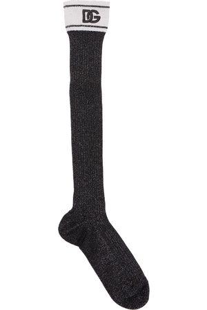 Dolce & Gabbana Logo Viscose & Vynil Effect Knee Socks