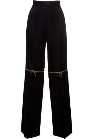 Dolce & Gabbana Stretch Wool Straight Pants W/zip Detail