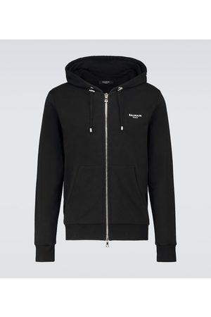 Balmain Zipped cotton hooded sweatshirt