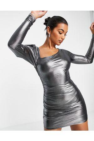 ASOS Asymmetric fallen shoulder ruched mini dress in metallic silver