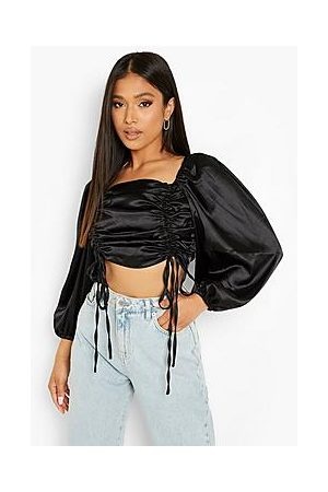 Boohoo Petite Satin Ruched Front Balloon Sleeve Crop