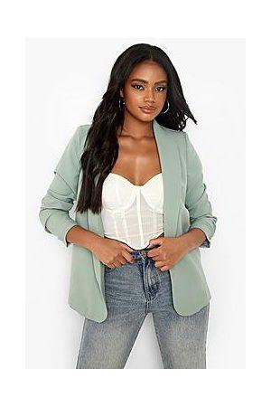 Boohoo Petite Ruched Sleeve Oversized Blazer