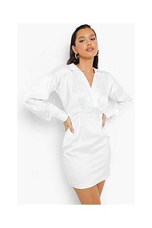 Boohoo Satin Wrap Shirt Dress