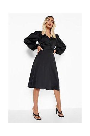 Boohoo Naiset Midimekot - Satin Puff Sleeve Button Detail Midi Dress