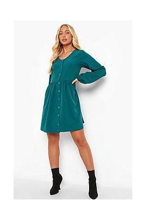 Boohoo V Neck Button Through Smock Dress