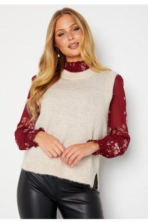 SELECTED Lulu Knit Vest O-Neck Birch Detail: Melang L