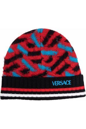 VERSACE Colour-block wool beanie