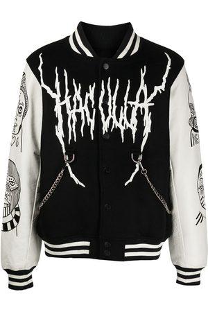 HACULLA Miehet Nahkatakit - Leather-sleeve varsity jacket