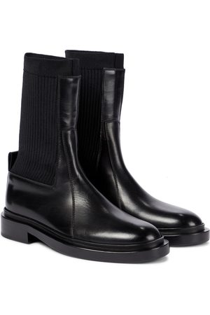Jil Sander Knit and leather ankle boots