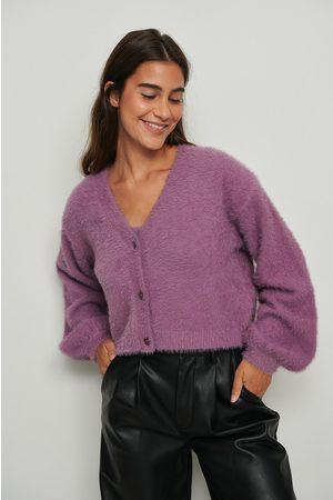 NA-KD Naiset Neulepaidat - Pöyheä cropattu neulepusero - Purple