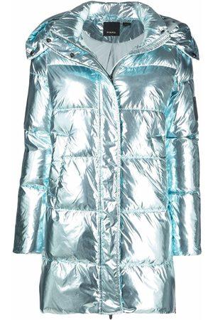 Pinko Naiset Untuvatakit - Logo-patch metallic-finish puffer jacket