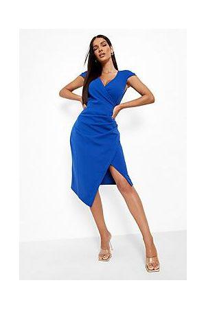 Boohoo Cap Sleeve Wrap Midi Dress