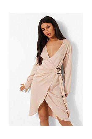 Boohoo Naiset Midimekot - Satin Wrap Midi Shirt Dress