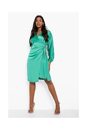 Boohoo Satin Wrap Midi Shirt Dress