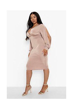 Boohoo Plus Slinky Wrap Cut Out Midi Dress