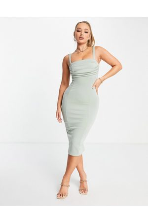 ASOS Corset pencil midi dress with ruched bust in sage-Green