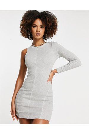 Simmi Clothing Simmi one shoulder contrast seam mini dress in grey
