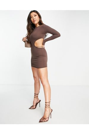 Simmi Clothing Naiset Myötäilevät Mekot - Simmi chain detail cut out bodycon mini dress in chocolate-Brown