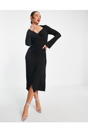 ASOS Naiset Midimekot - 70s drape front wrap midi dress in black