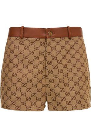 Gucci Naiset Shortsit - Logo Cotton Mini Shorts W/ Leather