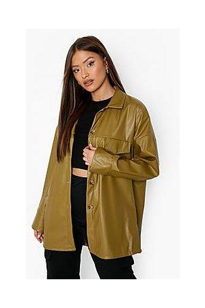 Boohoo Naiset T-paidat - Super Oversized Leather Look Shacket