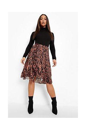 Boohoo Naiset Printtihameet - Zebra Print Wrap Frill Hem Satin Midi Skirt