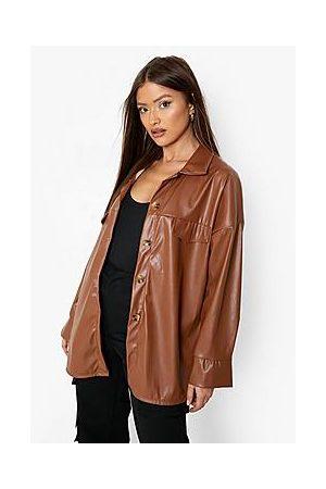 Boohoo Super Oversized Leather Look Shacket